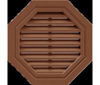 Восьмиугольная фронтонная вентиляционная решётка, для сайдинга, коричневая