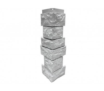 Угол наружный Цокольный сайдинг NORDSIDE «Камень северный» Белый