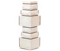 Угол для цокольного сайдинга Т-сайдинг Дикий камень - Камень Белый