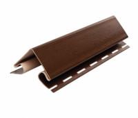Внешний (наружный) угол коричневый для винилового сайдинга Ю-пласт